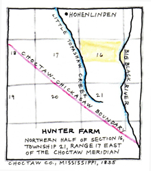 Hunter land in Choctaw County, MS. Click the image to enlarge it.